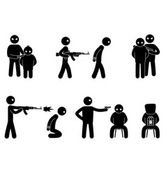 Set terrorist and hostages people vector