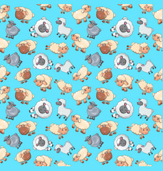 sheep pattern seamless cartoon style vector image