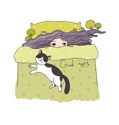 sleeping girl and cats good night sweet dreams vector image