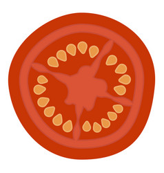 Slice of fresh tomato isolated on a white vector