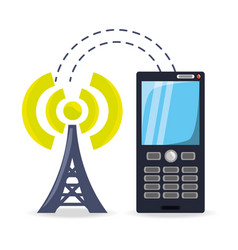 Smartphone receiving wifi connection of the tower vector