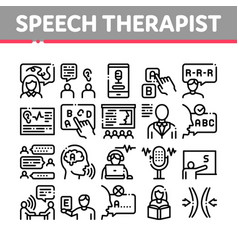 Speech therapist help collection icons set vector