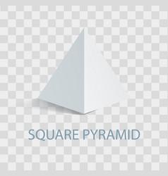 Square pyramid geometric figure in white color vector