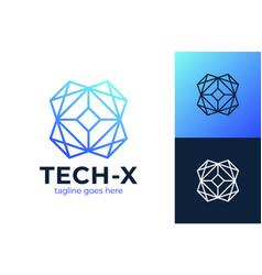 technology letter x logo innovate blue vector image