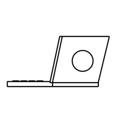 Technology work office laptop isolated black and vector