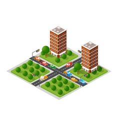 the isometric city with skyscraper from vector image