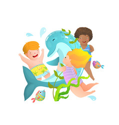 three children playing swimming with wild dolphin vector image
