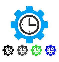 Time setup gear flat icon vector