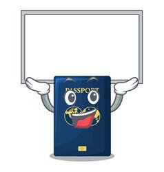 Up board blue passport in the cartoon form vector