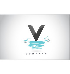 v letter logo design with water splash ripples vector image