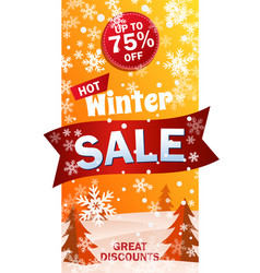 Vertical sale roll up on background winter vector