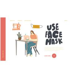 Volunteer using machine making protective masks vector