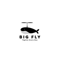 Whale and propeller logo design vector