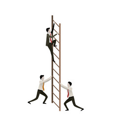 white background with business men climbing wooden vector image