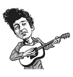 bob dylan cartoon playing guitar black and white vector image
