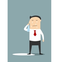 Crying businessman standing in a pool vector image