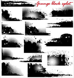 grunge black splat - set vector image