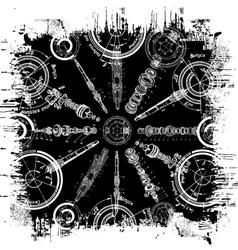 grunge blueprint vector image vector image