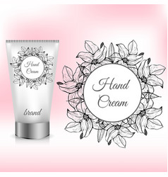 hand cream packaging with lily wreath vector image vector image