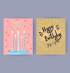 happy birthday joy and fun congratulation poster vector image