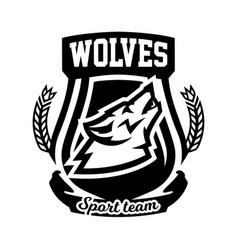 Monochrome logo emblem howling wolf vector