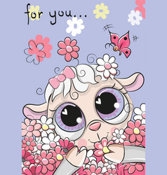 Sheep with flowers on a blue background vector
