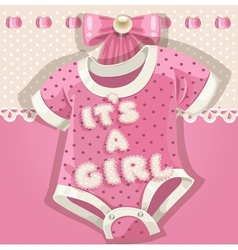 Baby shower pink card vector image