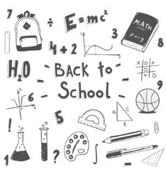 back to school doodle set vector image