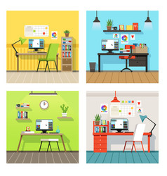 creative work space for designers and artists with vector image