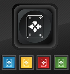 game cards icon symbol Set of five colorful vector image