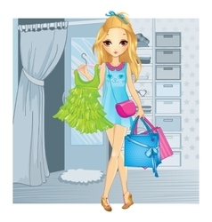 Girl With Clothes And Shopping Bags vector image vector image