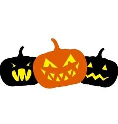 Three pumpkins vector image vector image