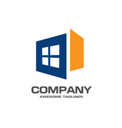 Window logo template vector