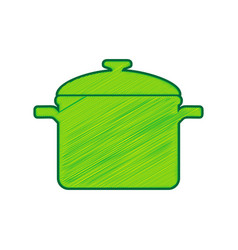 cooking pan sign lemon scribble icon on vector image vector image