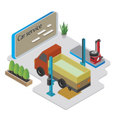 isometric car service composition vector image