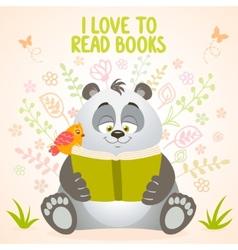 panda reads vector image vector image