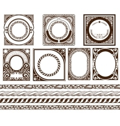 Set baroque cards with ornaments and floral vector image vector image
