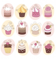set of cute cupcakes vector image
