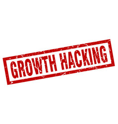 Square grunge red growth hacking stamp vector