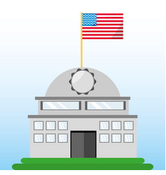 white house with american flag symbol vector image vector image