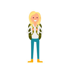 young girl with backpack icon vector image vector image