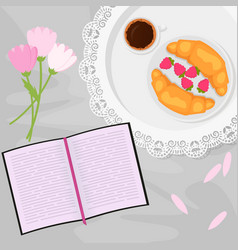 morning coffee and sweets vector image