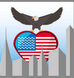 nice eagle with american flag in the city vector image