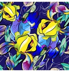 Seamless pattern of blue irises yellow vector image vector image