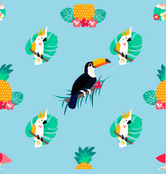seamless pattern with parrots pineapple toucan vector image