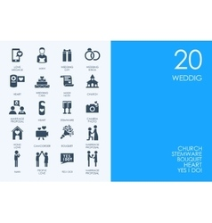 Set of BLUE HAMSTER Library wedding icons vector image vector image
