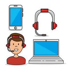 set of call center support icon vector image