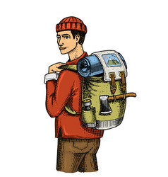 traveling man with backpack and luggage camping vector image