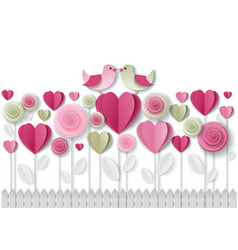 valentines day greeting card paper art vector image vector image