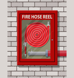 water hose to extinguish the fire in cabinet vector image vector image